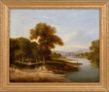 AMERICAN SCHOOL, 19th Century, Figures along a winding river., Oil on canvas, 20