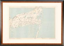 FRAMED AND MATTED MAP OF CAPE COD Depicting Yarmouth, Chatham, Harwich, Orleans and Brewster, Massachusetts. 19