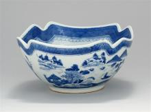 CHINESE EXPORT BLUE AND WHITE CANTON PORCELAIN BOWL In square form with cut corners. Height 4.5