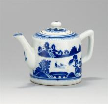 CHINESE EXPORT CANTON PORCELAIN DRUM-FORM TEAPOT With traditional blue and white decoration. Height 6