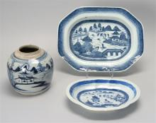 THREE PIECES OF CHINESE EXPORT BLUE AND WHITE CANTON PORCELAIN A rectangular serving bowl with canted corners, 10.75