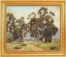 MABEL GRANDIN CARRUTHERS, California, 1886-1972, California landscape with sycamore trees., Oil on canvas, 20