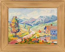 AARON BOHROD, American, 1907-1992, Southwestern mountain town., Oil on canvas board, 12