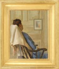 BOSTON SCHOOL, Early 20th Century, A woman relaxing in a Windsor chair., Oil on canvas, 20