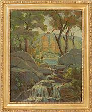 JOSEPH RIMINI, Massachusetts, 1920-2000, Fly fishing in the mountains., Oil on canvas, 30