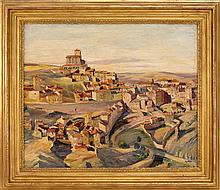 MAX KUEHNE, New York/Germany, 1880-1968, View of a Spanish town., Oil on canvas, 25