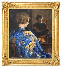 MARGUERITE STUBER PEARSON, Massachusetts, 1898-1978, The dragon kimono., Oil on canvas, 28