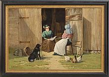 EDWARD BURRILL, American, 1835-1913, Barnyard conversation., Oil on canvas, 24