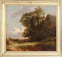 CONTINENTAL SCHOOL, 19th Century, A young boy and his dog frolic on a country road., Oil on panel, 16