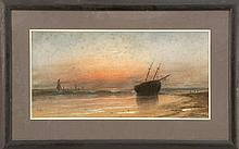 SAMUEL R. CHAFFEE, American, 1850-1913, Beached vessel at sunset., Pastel on paper, 8.5