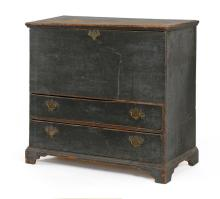 ANTIQUE AMERICAN BLANKET CHEST Probably of Cape Cod origin. In pine in possibly its original deep blue finish. Molded top with snipe...