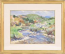 JOHN WHORF, Massachusetts, 1903-1959, Home on a river., Watercolor on paper, 16