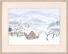 JOHN WHORF, Massachusetts, 1903-1959, New England winter., Watercolor on paper, 21
