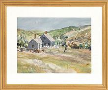 JOHN WHORF, Massachusetts, 1903-1959, A Cape Cod house in the dunes., Watercolor on paper, 14