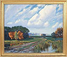 HARRY W. POWERS, Massachusetts, b. 1880, Autumnal landscape, North Shore, Massachusetts., Oil on canvas, 22