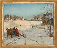HAROLD MATTHEWS BRETT, Cape Cod, 1880-1955, Winter sleigh ride, possibly Chatham, Massachusetts., Oil on canvas, 25