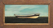 JAMES WALTER FOLGER, Nantucket, 1851-1915, Applied relief model of a whale boat with painted sea and sky background., Framed 15