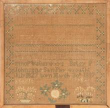 FRAMED ANTIQUE AMERICAN NEEDLEWORK SAMPLER Wrought by Betsy P. Johnson, born March 30, 1817. Dated July 18, 1827. Depicts alphabets,...