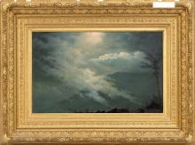 MANNER OF ALBERT BIERSTADT, Late 19th Century, Fog rolling in over moonlit mountains., Oil on canvas, 14