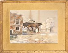 GEORGE FULLINGTON LORING, Massachusetts, 1851-1918, Courtyard at Mosque Chazade Constantinople., Watercolor on paper, 13