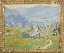 HOWARD EVERETT SMITH, American, 1885-1970, A river winding through a mountain valley., Oil on canvas, 30