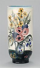 NICOLAI S. CIKOVSKY, Russian/American, 1894-1984, Cylindrical vase with hand-painted polychrome glaze decoration, Height 11.5