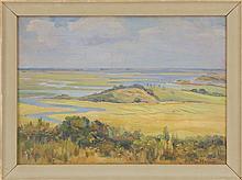 O. VICTOR HUMANN, Massachusetts, 1874-1951, Looking over the marsh, likely Essex, Massachusetts., Oil on canvas board, 10