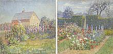 ATTRIBUTED TO SUSAN HAYWARD SCHNEIDER, American, 1876-, Pair of garden landscapes, possibly on Nantucket., Oils on canvas, 20