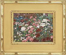 HEINRICH HERMAN R. PFEIFFER, Provincetown, 1874-1960, Flower garden., Oil on canvas board, 9