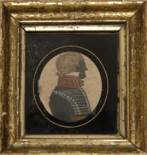 MINIATURE SILHOUETTE PORTRAIT OF A MILITARY OFFICER Watercolor and gouache on paper, 2.75