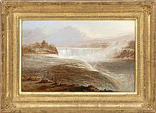 THOMAS DOUGHTY, American, 1793-1856, Niagara Falls., Oil on board, 11.5