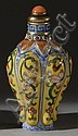 PORCELAIN SNUFF BOTTLE In temple jar form with ribbed floral design on a yellow ground. Four-character Ch'ien Lung mark on base. Hei..