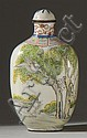 PAINTED ENAMEL SNUFF BOTTLE In spade shape with bird and dog landscape design. Four-character Kuang Hsu mark on base. Conforming sto...