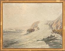 WILLIAM JOHNSON BIXBEE, American, 1850-1921, North Shore seascape., Oil on canvas, 26