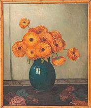 MARVIN JULIAN, American, 1894-1986, Still life of orange gerber daisies., Oil on canvas board, 24