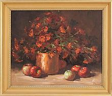 HELEN VAN WYK, American, 1930-1994, Still life of apples, flowers and a copper pot., Oil on canvas, 20