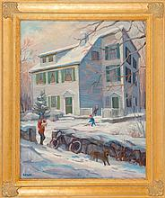 LUCIAN ARTHUR GERACI, American, 1923-2005, A house in the snow., Oil on canvas, 20