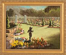HELEN VAN WYK, American, 1930-1994, A garden with sculpture., Oil on canvas, 16