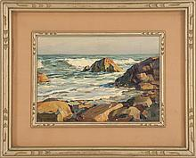 THOMAS R. CURTIN, American, 1899-1977, Rocky coast., Oil on board, 10