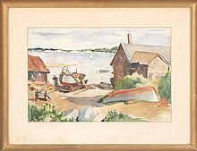 MARY ROBBINS, American, 1919-2008, North Shore harbor scene., Watercolor on paper, 14