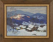 ARTHUR LORENTZ LINGQUIST, American, 1889-1975, Snow in the hills., Oil on canvas, 12