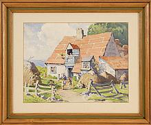 EMMA ALICE (NORDELL) PARKER, American, 1876-1958, Seaside cottage., Watercolor on paper, 12