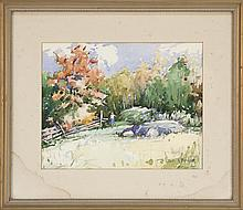 JAMES KING BONNAR, American, 1883-1961, Figure in an autumn landscape., Watercolor on paper, 12