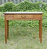 ANTIQUE AMERICAN HEPPLEWHITE ONE-DRAWER CARD TABLE In mahogany and other woods with shaped corners and square tapered legs. Brass ba...