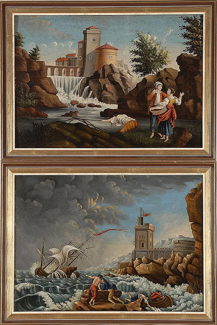 PAIR OF FRAMED ITALIAN PAINTINGS A landscape with a waterfall and figures before a city wall, and a coastal scene with a fishing boa...