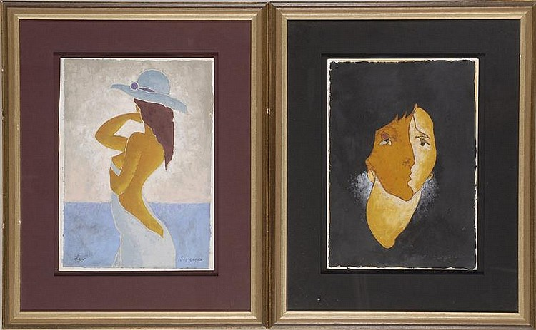 TWO FRAMED ABSTRACT PORTRAITS BY LEV SERGYEV A woman and a semi-nude woman wearing a hat. Both signed lower right