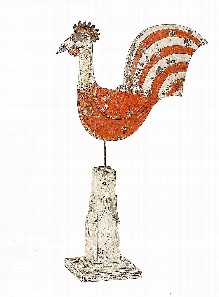 FOLK ART WEATHER VANE IN THE FORM OF A CHICKEN In wood and tin with red, white and black paint. Mounted on a white-painted pedestal....