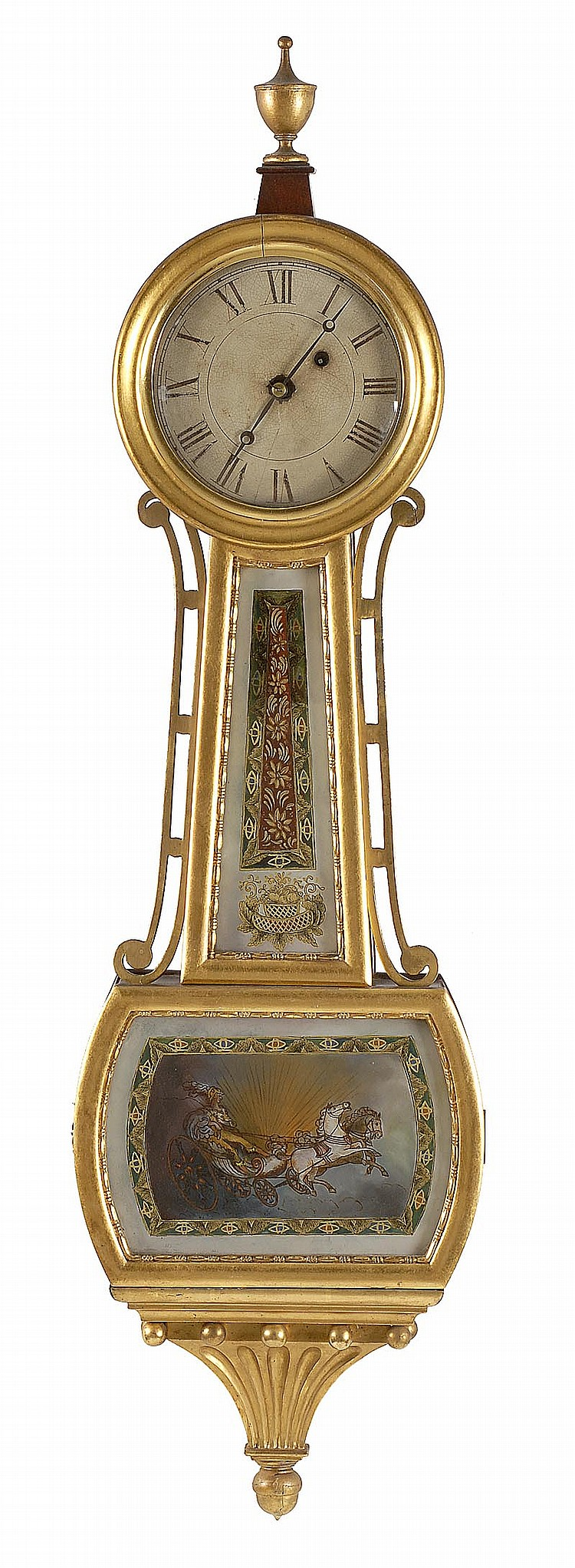 ANTIQUE AMERICAN BANJO CLOCK Maker unknown. Mahogany case, and gilt moldings, side brackets and presentation brackets. Reverse-paint...
