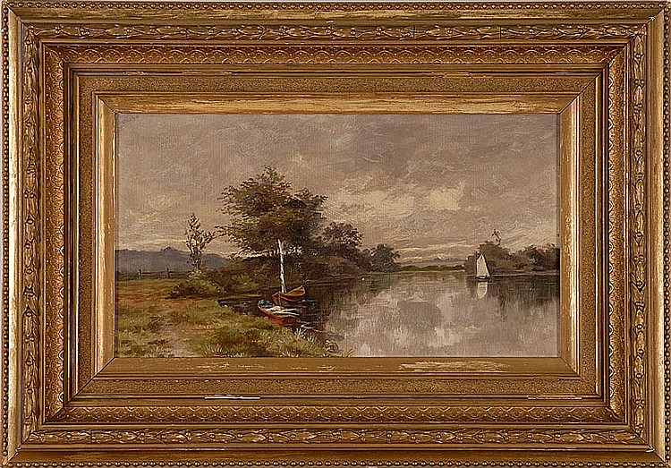 BARBIZON SCHOOL, Late 19th Century, Boats in a river landscape., Oil on canvas, 10