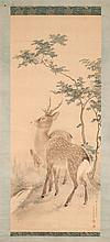 SCROLL PAINTING ON PAPER Two deer in a landscape. Signed in calligraphy and seal marked lower right. 51